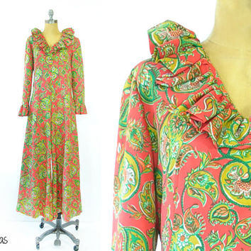 Vintage 1970s Jumpsuit • 70s Floral Ruffled Jumpsuit • Ruffled Romper • Red + Green Floral Print • Full Length • Ruffled Collar •