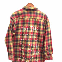 """Hunger Games Shirt - """"May the Odds Be Ever in Your Favor"""" in Plaid Flannel, Unisex"""