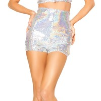 Silver Sequin High Waisted Shorts : Holographic Silver Rave Shorts