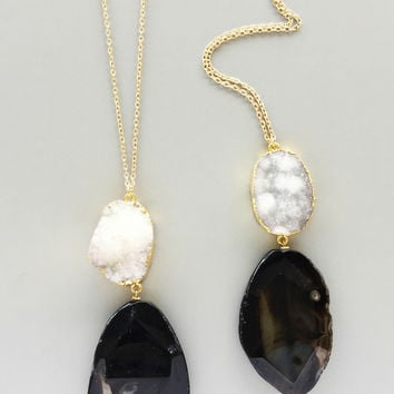 Black Quartz & White Druzy Necklace