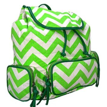 Small Chevron Print Backpack (Green)