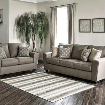 2 pc Calicho collection cashmere fabric upholstered sofa and love seat set with squared arms