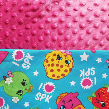 Personalized Shopkins Blanket, Shopkins Bedding, Tween Blanket, Girl Bedding, Girl Blanket, Shopkins Gift, Kids Bedding, Minky Blanket