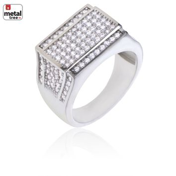 Jewelry Kay style Iced Out Rapper Silver Plated Hand Set CZ Flat Double Square Men's Pinky Ring