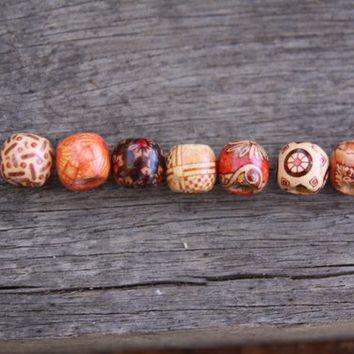 20 mini Wooden Dreadlock Beads Hair Beads 5mm Hole (3/16 Inch) & Free Tibetan Bead