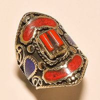 Wonderful Coral, Lapis Lazuli .925 Silver Tibetan Ring