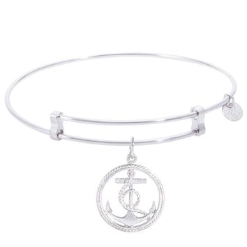 Sterling Silver Confident Bangle Bracelet With Anchor Charm
