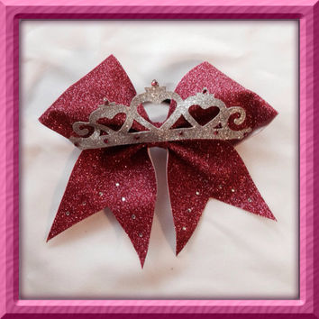 Pink sparkle tiara princess cheer bow with rhinestones