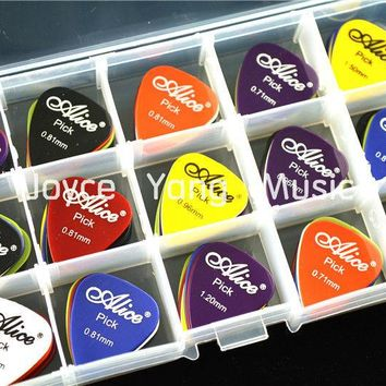 100pcs Alice Acoustic Electric Guitar Picks Plectrums+1 Large Plastic Picks Holder Case Box Free Shipping