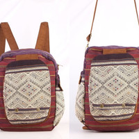 Ethnic Backpack Sling Bag Boho School Bag, College Bag, Book bag Tribal Hand Woven Textile