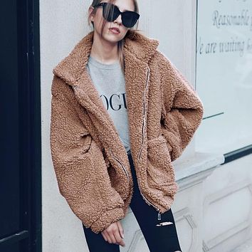 Faux Fur Big Pockets Zipper Women Teddy Coat