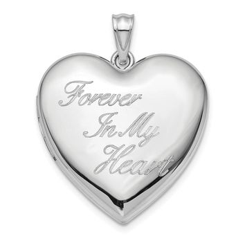 925 Sterling Silver Rhodium-Plated 24mm Forever in My Heart Ash Holder Heart Locket