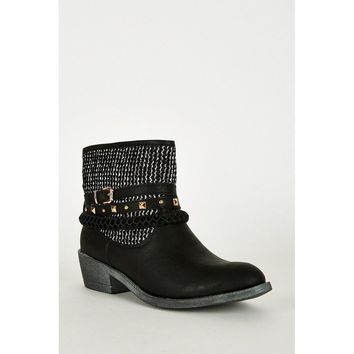 Black Triple Strap Detail Faux Leather Western Style Boots