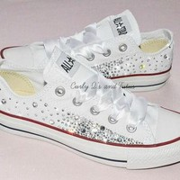 """Adult """"Bling"""" converse in your choice of color & ribbon shoelace to match. Super cute"""