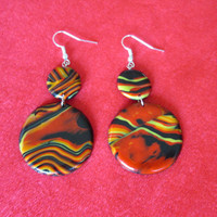 red orange polymer clay earrings,gift for her,orange boho earrings,affordable jewelry,colroful earrings,summer earrings,red hippie earrings
