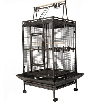 Bird Cage with Large Play Top As a large iron bird cage, it features an open play top area, where you can spoil your birds with ladder and perches on it.