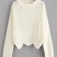 Solid Scallop Hem Sweater -SheIn(Sheinside)