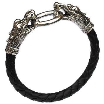 Hot PU Leather Aggressiveness Silver Animal Chinese Vintage Accessories Parataxis Dragon Bracelet Men jewelry