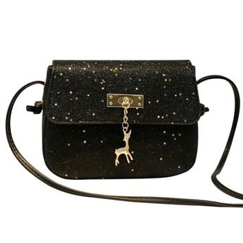 Fashion Womens Leather sparkling  Crossbody Bag small Deer Shoulder Bags Purse Messenger Bag Sweet and simple style