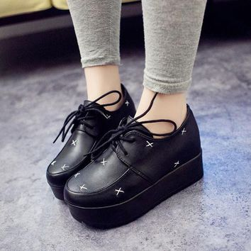 VLX2WL Autumn Patchwork Shoes England Style Vintage Thick Crust Height Increase Platform Shoes [9432938250]