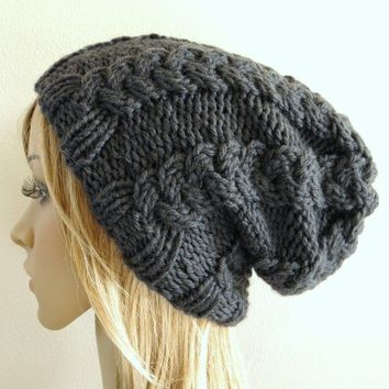 Hand knit hat cabled slouchy hat in dark charcoal grey gray chunky warm luxurious australian wool handknitted cables men women unisex