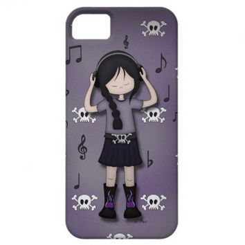 Whimsical Emo Goth Girl with Music Headphones iPhone 5 Cases from Zazzle.com