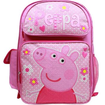 "Entertainment One Peppa Pig 16"" Canvas Pink School Backpack"