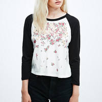 Truly Madly Deeply Falling Florets Raglan Crop Tee - Urban Outfitters