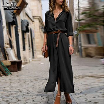 Women's Solid Long Sleeve Casual Loose V-Neck Button Split Hem Long Dress Autumn Winter Women Shirt Dress