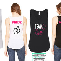 Customized Team Bride V-Neck Flowy Tank Top - Bridesmaid Shirts - Bachelorette Party Tank Top - Wedding Gift - Bride - Maid of Honor