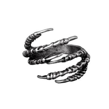 Gothic Punk Antique Copper Eagle Claw Ring Fashion Men's Opening Talon Rings Spell Mystery Jewelry