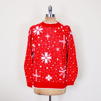 Vintage 80s Ugly Christmas Sweater Jumper Ugly Xmas Sweater Party Ugly X-mas Sweater Red Snowflake Sweater Oversize Sweater Women S M L