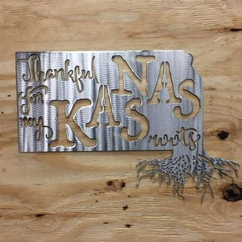 Thankful For My Kansas Roots Metal Wall Art