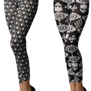 2 Pack Black and White Print Women's Leggings