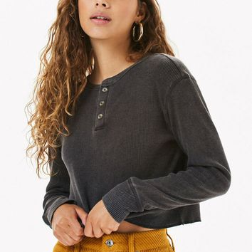 Me To We Jarred Waffle Knit Long Sleeve T-Shirt | PacSun