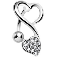 Top Mount Crystalline Gem Swirling Dual Hearts Belly Ring | Body Candy Body Jewelry