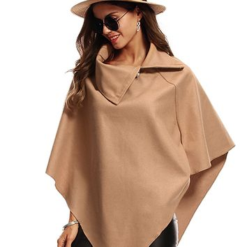 Khaki Zip Neck Asymmetric Hem Wool Blend Poncho