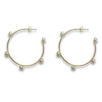 Fresh water pearls Gold Hoops Earrings