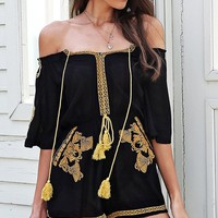 Moroccan Madness Black Gold Ethnic Pattern Embroidery Short Sleeve Off The Shoulder Tassel Short Romper Playsuit