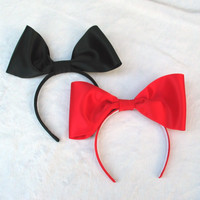 Women's Hair Accessories, Satin Bow, Giant Red or Black Bow Headband Fascinator Adjustable