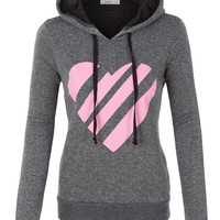 LE3NO Womens Varsity Heart Design French Terry Pullover Hoodie Sweater