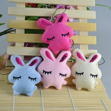 1PCS kawaii Soft Plush Cartoon Rabbit Embrace Stuffed Pendant For Mobile Phone Straps Bags Parts Accessories