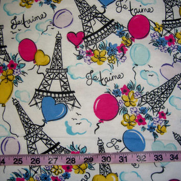 Eiffel Tower flannel fabric Paris France balloons flowers cotton quilt print quilting sewing material sew by the yard crafts