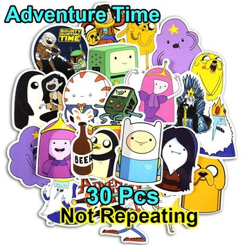 Adventure Time 30 pcs Cartoon Pvc Waterproof Sticker For Laptop Luggage Wall Car Bicycle Motorcycle Notebook Toys Stickers
