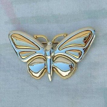 Liz Claiborne Butterfly Pin Brooch Gold-Silver Tone Figural Jewelry