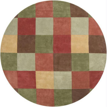 Area Rug - Pale Gold, Raw Sienna, Turtle Green, Mocha, Sage Green, Red Clay