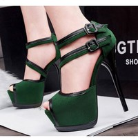 Sexy Extreme High Heels Platform Women Shoes Peep-toe Fashion Stilettos Sandals