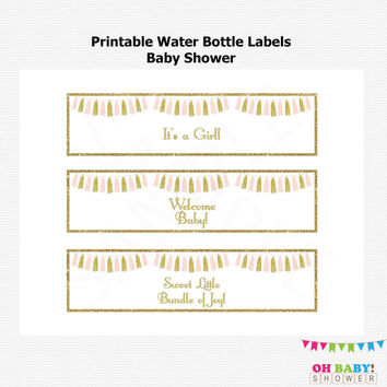 Printable Water Bottle Labels Baby Shower, Pink and Gold Baby Shower, Tassels, Baby Girl, Water Bottle Labels, Instant Download, PDF, TASPG