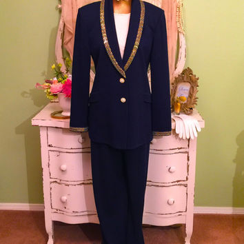 St John Set, Jacket Pants Top, Marie Gray Outfit, Evening Pant Suit, Resort Wear, Designer Couture Wear, Navy Blue Sparkle, Size 16 Large
