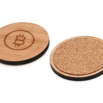 Bitcoin Wooden Coasters Set of 4, Gifts For Him, Wedding Gifts, Groomsman Gifts, and Personalized